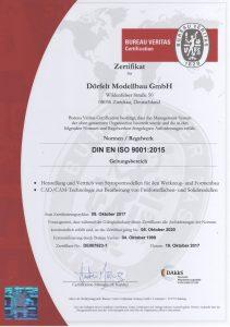 Qualitätsmanagement Zertifikat DIN ISO 9001 (deutsch)