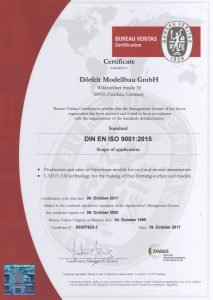 Quality Management Certificate DIN ISO 9001 (englisch)